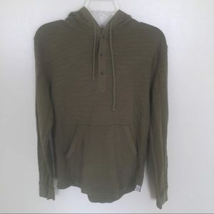 Lucky Brand 3 Button Pullover Hoodie, Green, Sm
